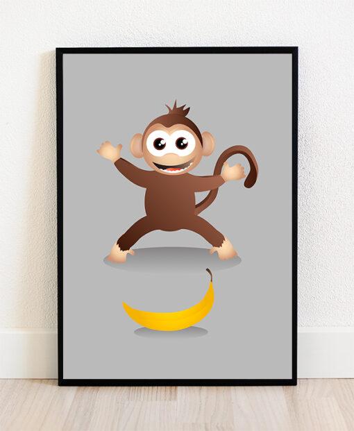 Skøn plakat med en lille smilende abe der elsker bananer