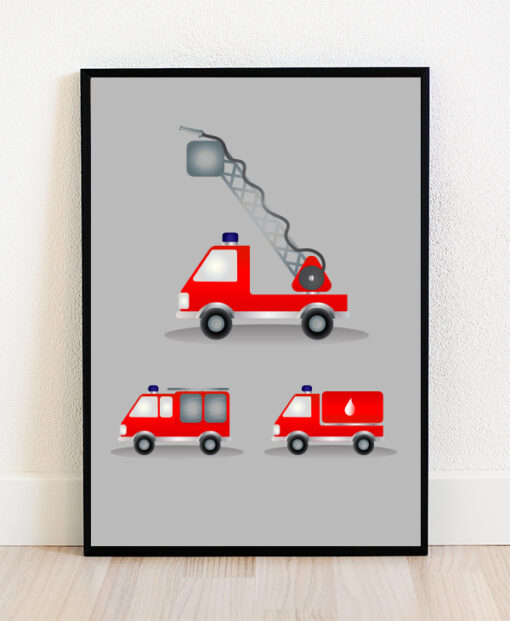 Plakat i ramme med illustration af brandbiler