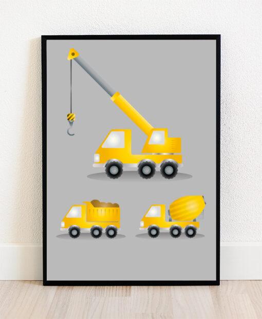 Plakat i ramme med illustration af arbejdsmaskiner