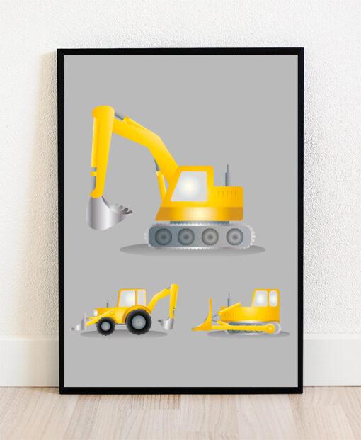 Plakat i ramme med illustration af gravemaskiner