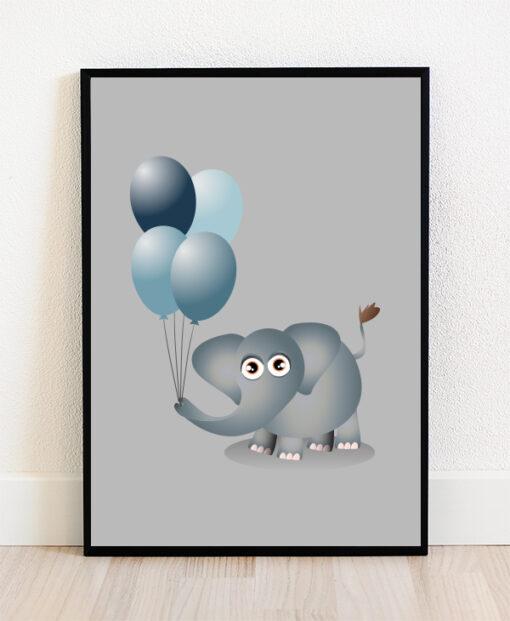 Plakat i ramme med illustration af en elefant