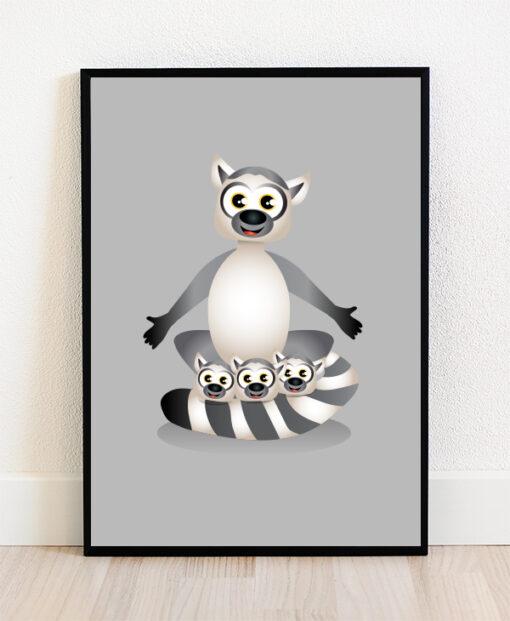 Plakat i ramme med illustration af en lemurfamilie