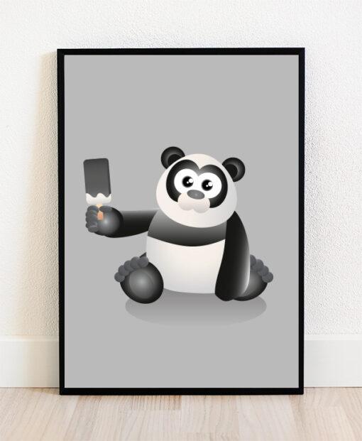 Plakat i ramme med illustration af en panda