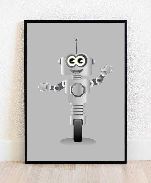 Plakat i ramme med illustration af en robot